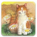 Podložka Cat & daisies 10*10 cm