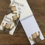Poznámkový blok nákupní Bear hugs, 23*10 cm