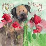 Přání Border terrier dog & Poppies